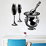 BFMBCH Champagne drink wall sticker decoration kitchen bar restaurant wine vinyl applique modern home interior design art wall sticker A2 74x74cm