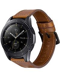 iBazal Correas 20mm Cuero Piel Pulseras Bandas Compatible con Samsung Galaxy Watch 42mm/Active 40mm/Huawei Watch 2/Gear S2 Classic/Gear Sport/Ticwatch 2/E/Amazfit Bip Hombre(Reloj No Incluido) -Marrón