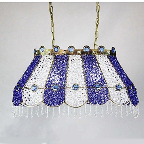 KUN PENG SHOP Vintage Iron Rechteck Restaurant Kunst Glas Kronleuchter A+ ( Farbe : Blau und weiß ) -