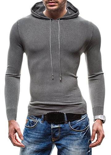 BOLF Herrenpullover Kapuzenpullover Sweatshirt Top Sweatjacke S-WEST B918 Grau