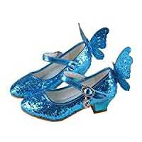 JTENGYAO Child Baby Girls Princess Wing Shoes Glitter Dance Shoes Buckle Strap High Heels Blue