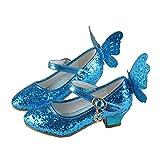 O&N Mädchen Prinzessin Kunstlederschuhe Tanzschuhe Sandalette Stöckelschuhe mit Schmetterling Design