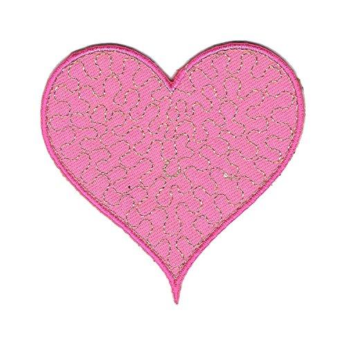 Aufnäher Bügelbild Aufbügler Iron on Patches Applikation Kinder Baby Glitzer Herz Rosa (Kitty Herzen Hello)