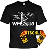 Fußball Fan Set, T-Shirt mit Deutschland Schal, Fanartikel, Trikot - Germanys Next World Champion - 1954 1974 1990 2014 WM 2018