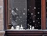 WHSHINE Weihnachts Schaufenster Dekoration Wandaufkleber Weihnachten Wandsticker Wandtattoo Schneeflocken Stadt Wand Stickers Weihnachtsmann Herzform Dekor (25 * 35cm, Multicolor)