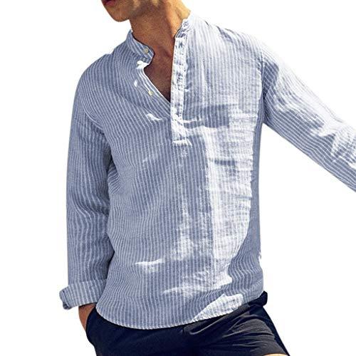 Herren Leinenhemd Lange Ärmel Sommer Baumwolle Retro V-Ausschnitt T-Shirts Streifen Basic Sommer Hemd Regular Fit Shirt Kragenloses Bluse - Kragenlos Bluse