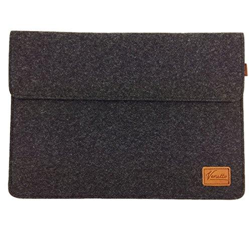 Venetto 13,3 Zoll Macbook Air/ Pro Retina /12,9 Zoll iPad Pro, Microsoft Surface, Laptop Tasche Filz Sleeve Hülle Ultrabook cover (Schwarz meliert)