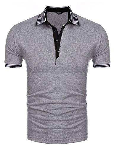 Coofandy Men's Poloshirt herren kurzarm Grau M 38 (Grau Stricken Polo-t-shirt)