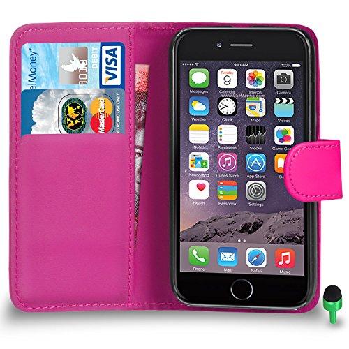 """POUR Apple iPhone 6 / 6S (4.7"""" INCH) - SHUKAN® Prime Cuir VIOLET Portefeuille Cas Coque Couverture VERT Cap ROSE"""