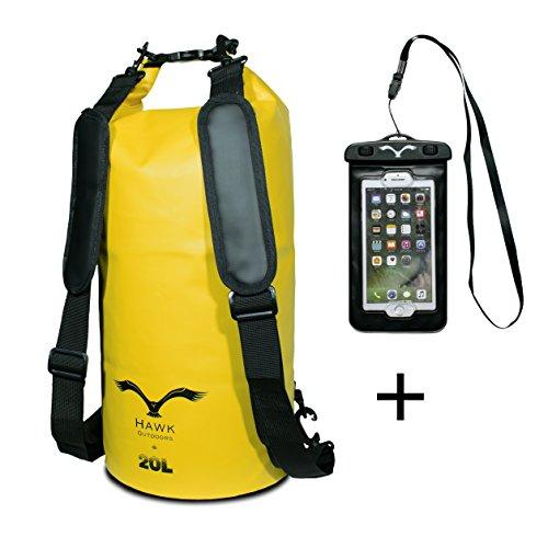 HAWK Outdoors Dry Bag- wasserdichter Packsack mit gepolsterten Schulter-Gurten inklusive wasserdichter Handy-Hülle - Stausack Seesack - Wasserfester Rucksack - Kajak, Rafting, Segeln, Surfen- 20L, Gelb (Packsack Großer)