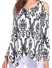 ZIYOU Damen Bluse Elegante Vintage Tunika Frauen Trägerloser Sweatshirt Basic Blumen Langarmshirt Oberteile Tops