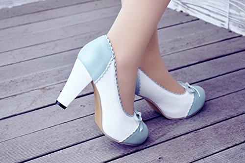 Mee Shoes Damen süß runder toe mit Schleife Spitze Geschlossen Prinzessin Pumps mit hohen Absätzen Blau