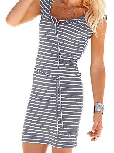 Fleasee Damen Ärmellos Strandkleid Casual Sommerkleid Sportliches Streifenkleid Knielang