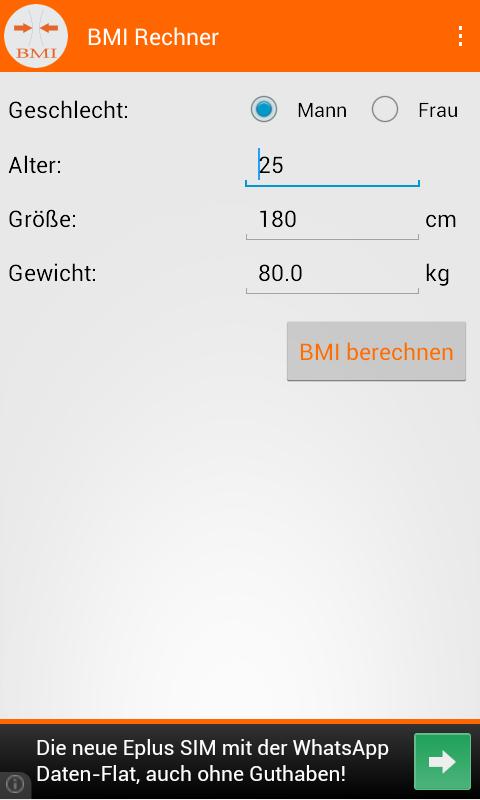 bmi rechner tabelle frau