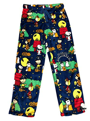 Peanuts Halloween Snoopy Charlie Brown Damen Pyjama Minky Fleece Schlafhose blau - Blau - X-Large / 16-18 US