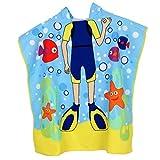 IPOTCH Kinder Kapuzenhandtuch Poncho Badeponcho Handtuch Badehandtuch Strandtuch Badetuch Wassersport Umziehhilfe für Jungen Mädchen - Taucher