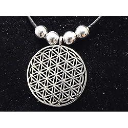 Plata de la flor de la vida colgante Reki sagrado egipcio geometría, Ancient meraphysical representaion con perlas de plata