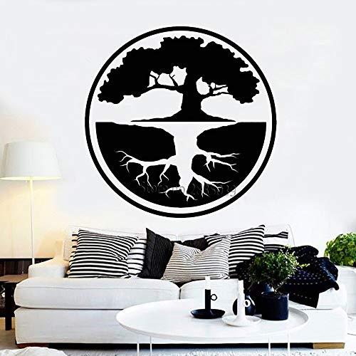 Yin Yang Big Tree Vinyl Wandaufkleber Baum des Lebens Buddhismus Bonsai Asiatischen Stil Aufkleber Wohnzimmer Wandbild Yoga Studio 43x43 cm -