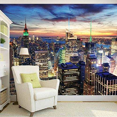 Xbwy Wallpaper 3D Custom New York City Modern High Rise Building Photography Background Wallpaper Restaurant Bar Shopping Mall Mural-400X280Cm