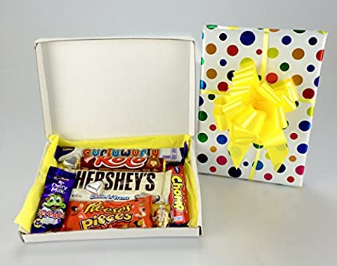 Gift Wrapped Chocolate Box Hamper - Much Variety Including Hershey's, Reese's, Cadbury Unique Gift - Add personal