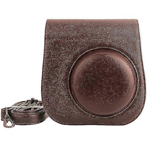 Katia Caso de cuero de la PU Instax Mini 8 Cámara Bolsa de Fujifilm Instax Mini 8 con correa para el hombro y bolsillo - marrón
