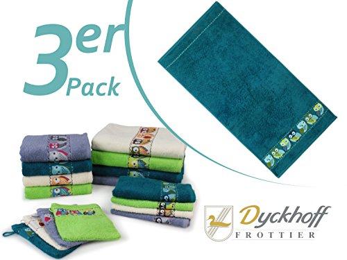 """Frottierserie """"Eule"""" von Dyckhoff mit gewebter Bordüre - erhältlich in 4 Farben und 4 Größen, 3er-Pack Handtücher 50 x 100 cm, petrol"""