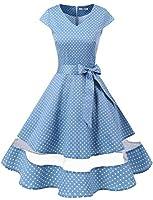 Gardenwed Annata 1950 retrò Rockabilly Polka Vestito da Audery Swing Abito  da Cocktail Partito con Maniche Corte Blue Small White DOT 2XL 85d64144b05