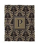 Manual carpinteros y tejedoras Coral polar manta, 30por, letra P, negro y oro de Damasco con el monograma de 40pulgadas