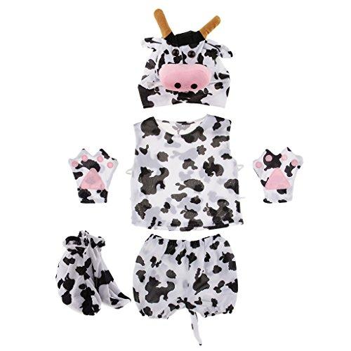 Fenteer Karneval Kinder Tier Kostüm Tiermotiv Fuchskostüm Tierkostüm Faschingskostüm Halloween Zubehör - Kuh
