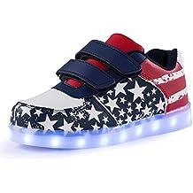 AFFINEST Kinderschuhe LED Sportschuhe USB Aufladen 7 Lichtfarbe Sternen Leuchtend PU Sneaker Turnschuhe Halloween Weihnachten