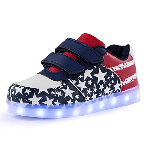 AFFINEST Kinderschuhe LED Sportschuhe USB Aufladen 7 Lichtfarbe Sternen Leuchtend PU Sneaker Turnschuhe(blau,26) (Sportliche Halloween Kostüme)