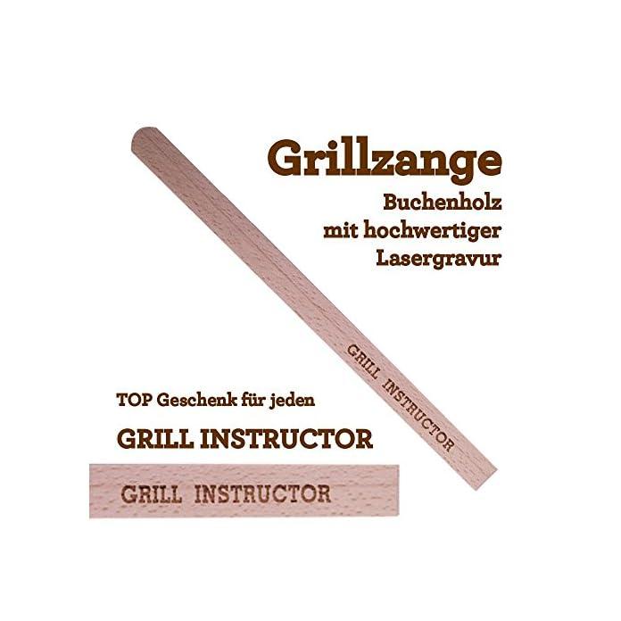 Grillzange Aus Holz Mit Hochwertiger Gravur Grill Instructor