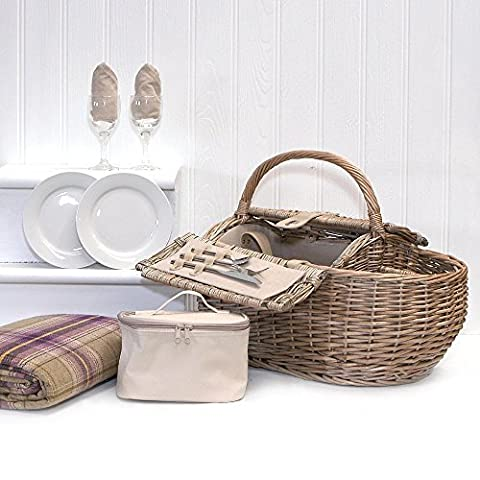 Deluxe 2 Person Boat Picnic Hamper & Accessories Including Purple Tartan Waterproof Fleece Blanket, Chiller Bag, Wine Glasses, China Plates, Stainless Steel Cutlery,Gift ideas for – Valentines,Presents,Birthday,Men,Him,Dad,Her,Mum,Thank you,Wedding
