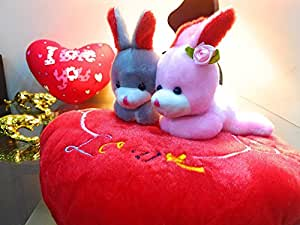 Jiada Stuffed Soft Plush Bunny Couple On A Pillow - Valentines Day Gift