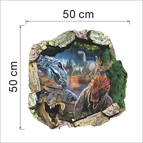 3d dinosauro attraverso wall sticker home decor fai da te cartone animato nursery wall film murale art poster h2 33.3x33.3cm