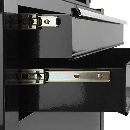 Arebos Werkstattwagen 9 Fächer/zentral abschließbar/Anti-Rutschbeschichtung/Räder mit Festellbremse/Massives Metall/rot oder schwarz (Schwarz) - 5