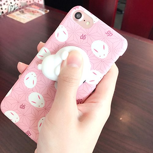 Für iPhone 4,7 Zoll Fall, Für iPhone 8 & 7 3D Schöne Kaninchen Cartoon-Muster Squeeze Relief IMD Verarbeitung Squishy Ultra-dünne Frosted Protective Back Cover Case (4,7 Zoll)