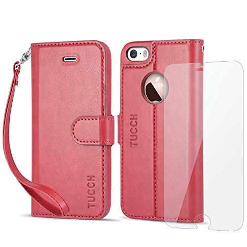 iPhone SE Hülle iPhone 5s Hülle iPhone 5 Hülle, TUCCH Handyhülle iPhone 5s / SE / 5, [Lifetime Garantie] mit [Displayschutzfolie] [Kartenfach] [Standfunktion] [abnehmbare Handschlaufe], Schwarz Rot
