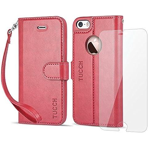 Funda iPhone SE, Funda iPhone 5s, TUCCH Funda Piel con Gratis Protector Pantalla para iPhone 5/5S/SE, Soporte Plegable, Ranuras para Tarjetas, Estilo Libro, Cierre Magnético, Color Rojo