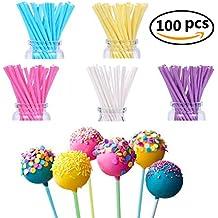 FiYenn 100 x Cake POP Sticks 15 cm, colores pastel, Kitchencraft, mangos de Papel para tartas - 5 colores