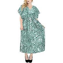 LA LEELA Mujeres Caftán Algodón túnica Batik Kimono Libre tamaño Largo Maxi Vestido de Fiesta para