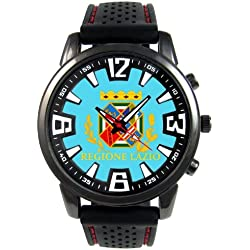 Italy Lazio Flag Mens Black Jelly Silicone Wrist Watch