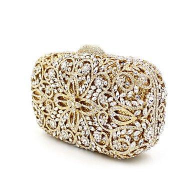 Frauen Metall formale Veranstaltung/Party Hochzeit Abend Tasche Diamanten Kupplung HandbagPurse/Edelstein Gold