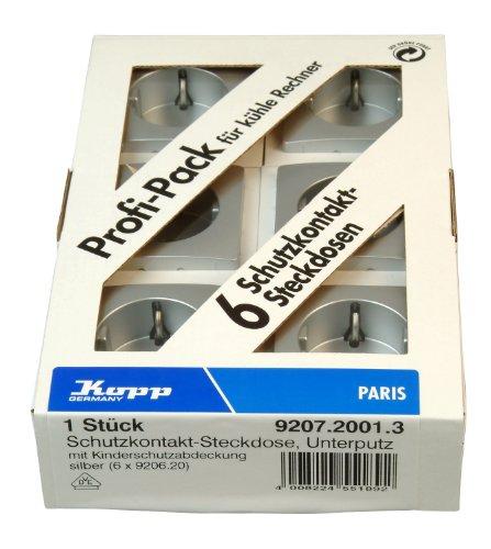 Kopp Paris Steckdose Profi-Pack 6x 1-fach für den Haushalt, 250V (16A), IP20, Schutzkontakt-Steckdose mit erhöhtem Berührungsschutz, Unterputz, einfache Wandmontage, silber, 920720013 -