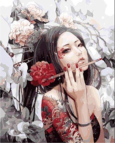 OBELLA Malen nach Zahlen Kits || Glamorous Anime Schönheit Blumenfee 50 x 40 cm || Malen nach Zahlen, DIGITAL Ölgemälde (Frameless) (Native American Hochzeit)