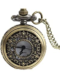 Maybesky Reloj de Bolsillo de Bronce Antiguo Hueco Creativo con el Regalo de Cadena para la Boda del Regalo del día de Padre Navidad Caja de Regalo para cumpleaños Aniversario día Nav