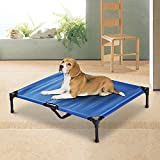 PawHut Portable Elevated Pet Bed to Raise Relax Area for Dogs and Cats with Metal Frame (Large)