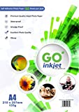 100Blatt von selbstklebendem A4-Fotopapier in Glanz-Beschichtung:Weißes Hochglanz-Fotopapier, wasserdicht, kompatibel mit Tintenstrahl- und Fotodruckern von GO Inkjet.