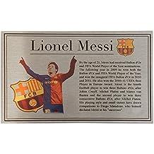 Lionel Messi Silver Targa Di Metallo Targhetta Per Autografato Barcellona maglia o foto - Autografato Metallo