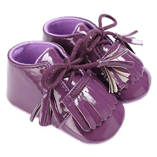 Igemy 1Paar Baby Neugeborene Troddel Soft Sole Leder Schuhe Jungen Mädchen Kleinkind Krippe Prewalker Lila